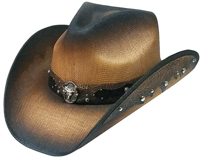 Modestone Straw Cowboy Hat Metal Longhorn Bull Head Concho   Studs Hatband  XL e6f3371e56d1