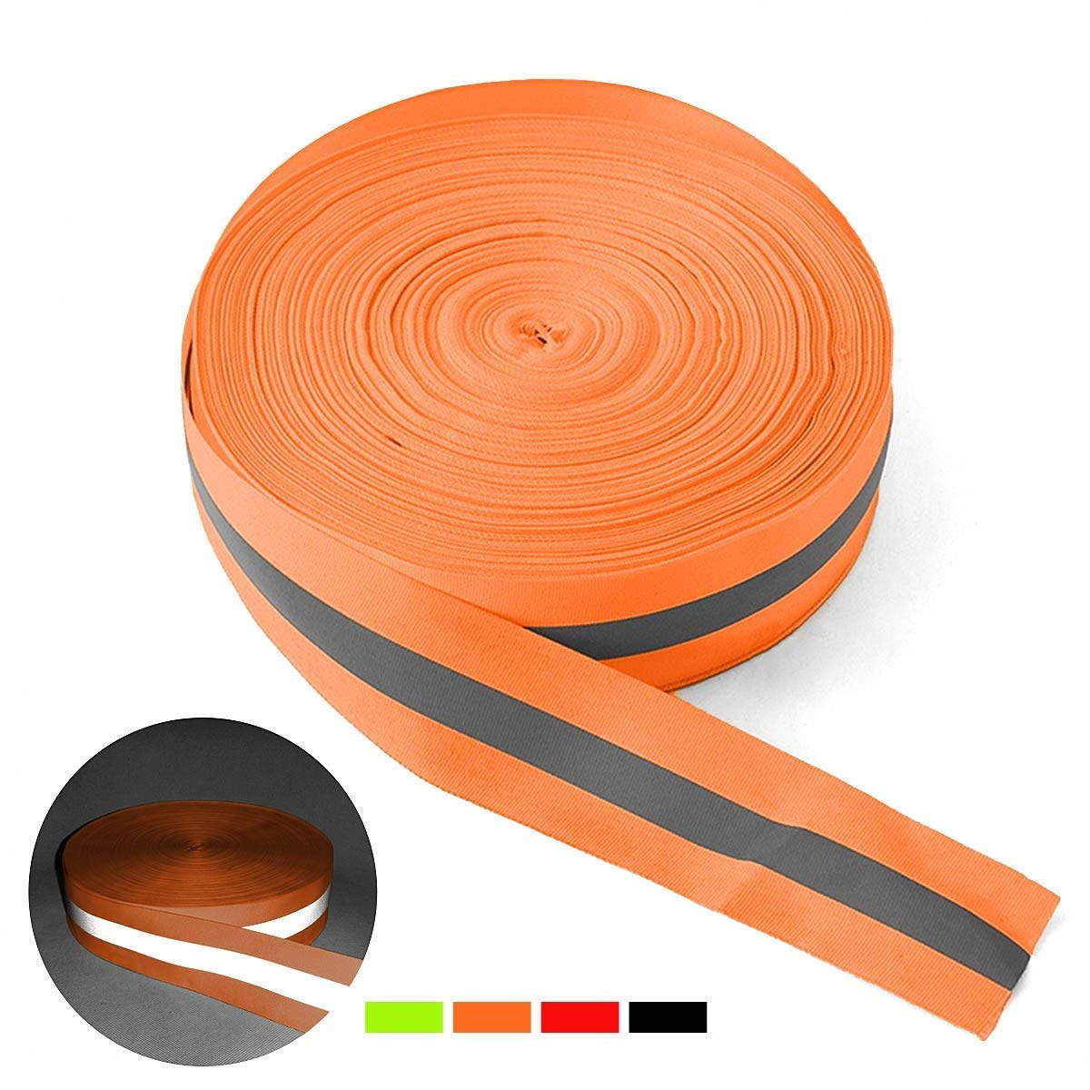 Width 1.96 Fabric Reflective Safety Tape Sew-on Warning Safety Trim (Lengths Optional) Reemky High Visibility Reflective Tape Strip