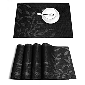 HEBE Placemats Set of 4,Placemats for Dining Table,Heat-Resistant Placemats, Stain Resistant Washable PVC Table Mats,Kitchen Table Mats Black