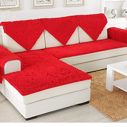 Amazon.com: SVIO-SOFACOVER Plush Chenille Sofa Slipcover Red Couch ...