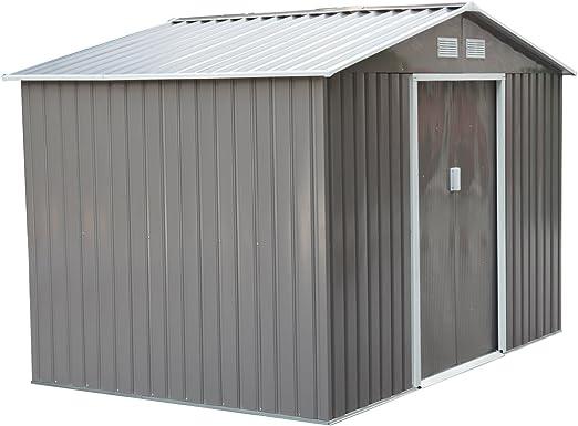 Outsunny Caseta de Jardín Tipo Cobertizo Metálico Ocre para Almacenamiento de Herramientas 277x191x192cm Gris: Amazon.es: Jardín
