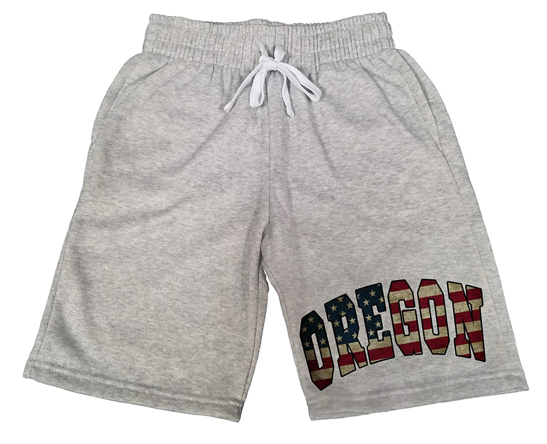 Mens Oregon USA Flag B1577 Gray Fleece Jogger Sweatpants Gym Shorts