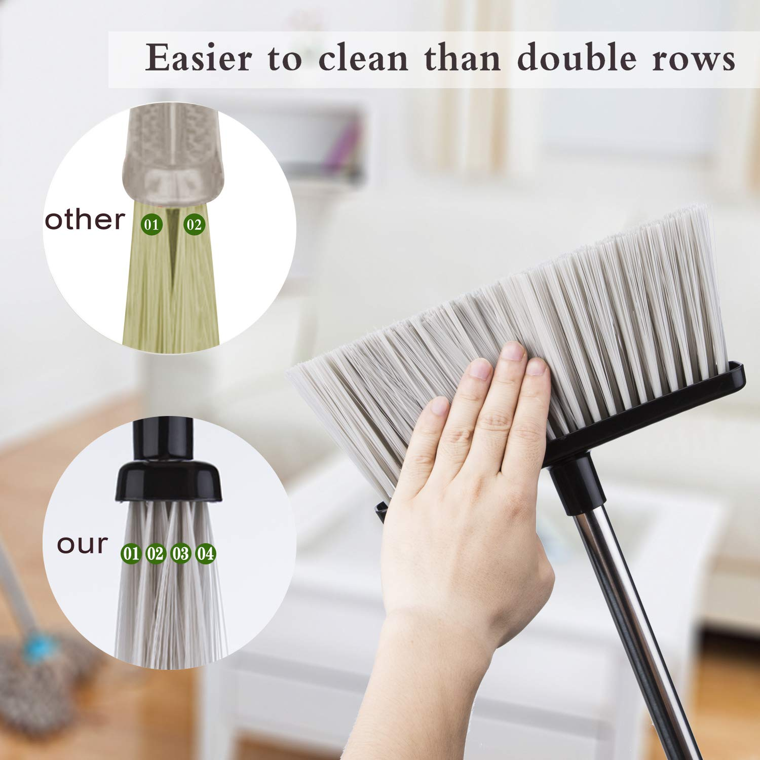 Broom and Dustpan Set with Lid [2019 New Design] Outdoor Indoor Broom Dust Pan 3 Foot Angle Heavy Push Combo Upright Long Handle for Kids Garden Pet Dog Hair Wood Floor Sweep Kitchen House (Black 02) by OLLSDIRE (Image #3)