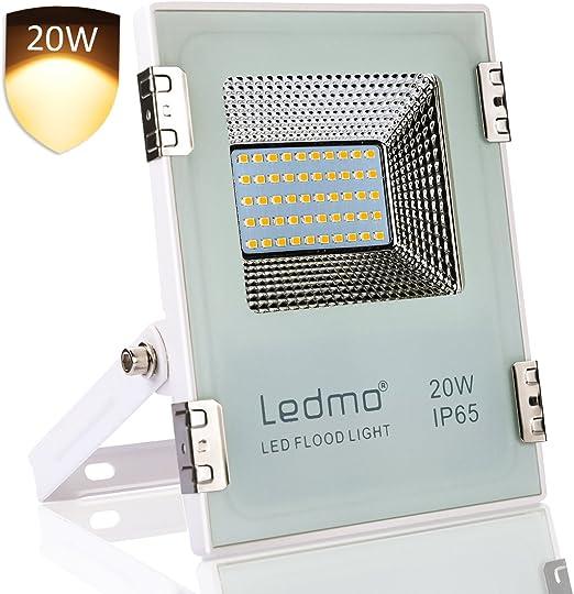 LEDMO Foco Proyector/Focos LED 20W,focos led exterior 2700K blanco ...
