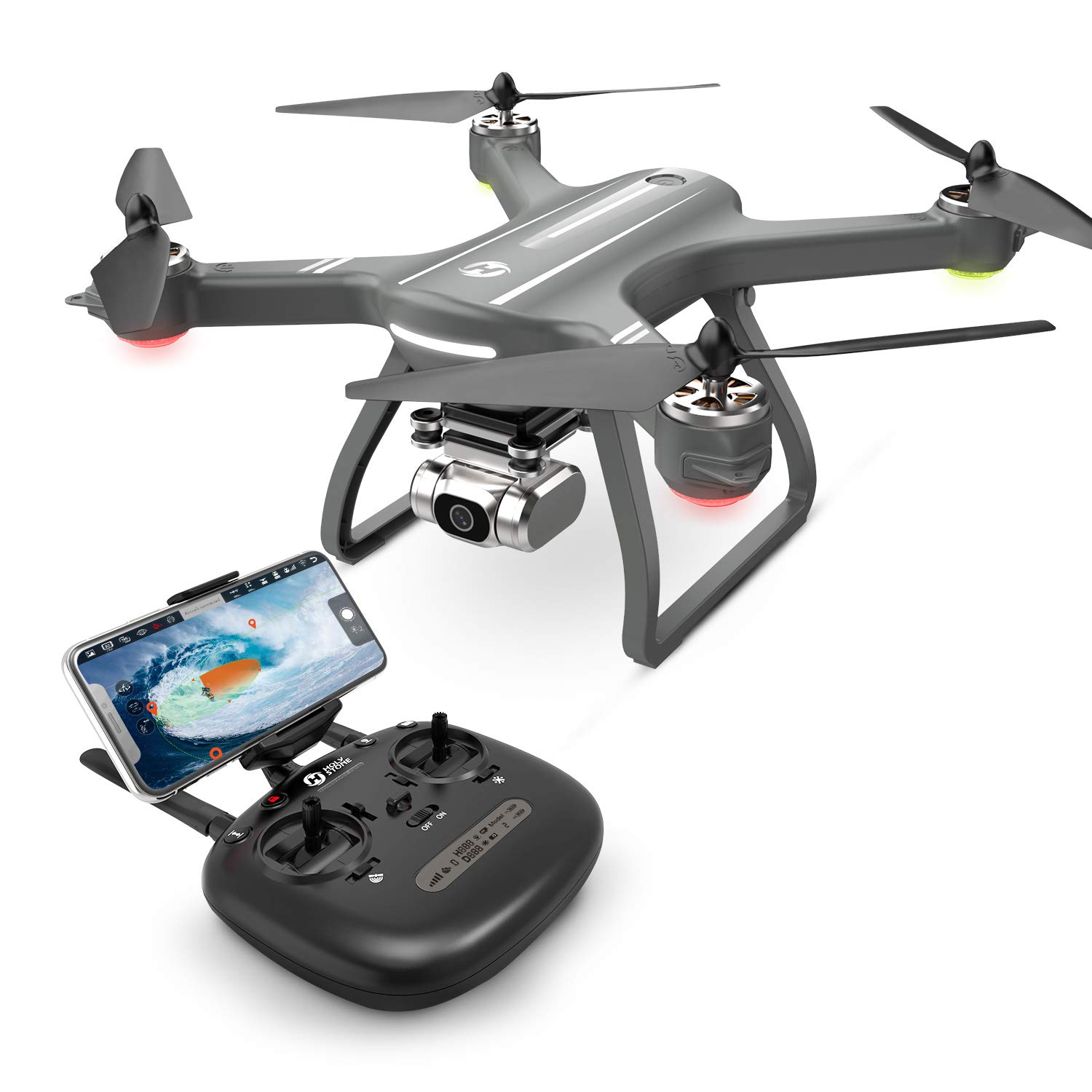 Holy Stone HS700D 2K Drone with FHD Camera FPV Live Video for Adults, GPS RC Quadcopter with Brushless Motor, 5G Transmission, Auto Return Home, Long Flight Time, Advanced Selfie for Beginners, Gray by Holy Stone