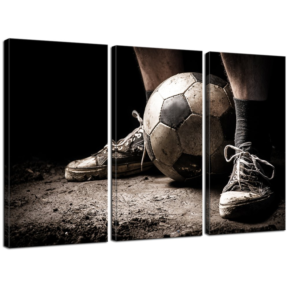 """Live Art Decor - 3 Pieces Canvas Art Ragged Sneaker with a Soccer Ball Vintage Picture Prints on Canvas Framed Ready to Hang,Sports Wall Art for Boys Room,-16""""x32""""x3pcs"""