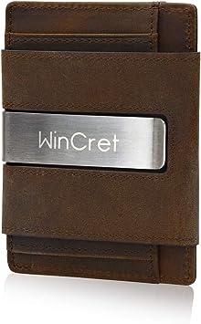 WinCret Cartera Minimalista Hombre con Clip - Pequeña Billetera de Piel con RFID Bloqueo para Tarjeta de crédito: Amazon.es: Equipaje