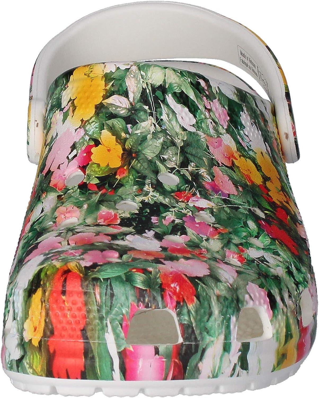 25 EU Obstrucci/ón Unisex Adulto Crocs Classic Printed Floral Clog White//Multi