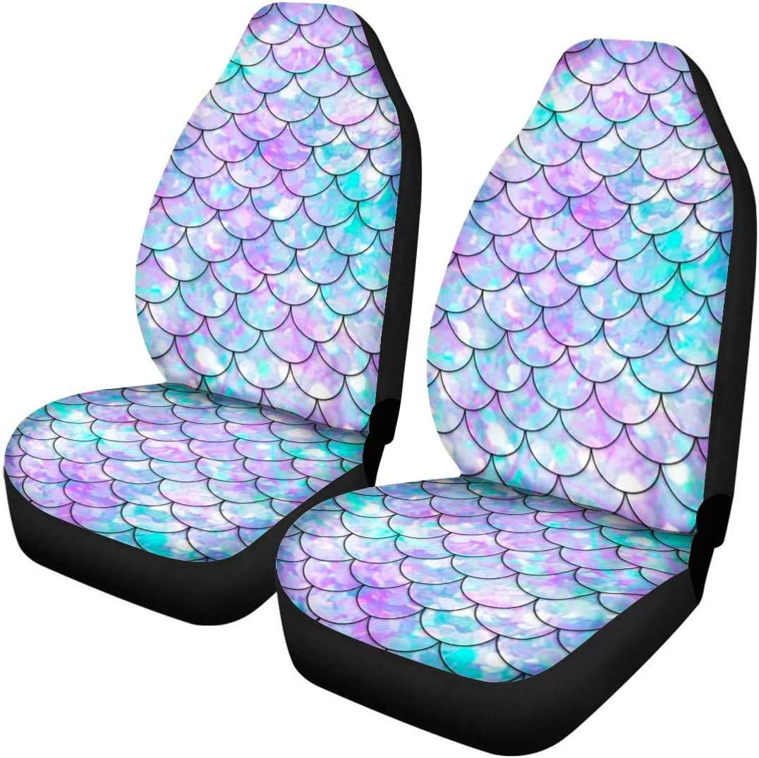 Pack of 2 Micandle Elephant Seat Covers for Car Front Saddle Blanket Comfort Covers Trendy Print Bucket Seat Cover Universal Car Accessories for Truck Van SUV