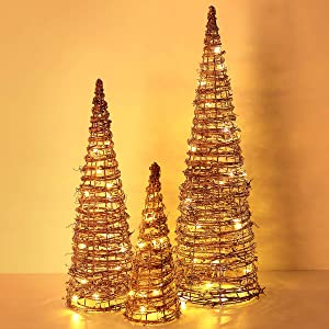 Luxspire Christmas Trees, Dry Vines White Snowflakes Beautiful Bright Christmas Tree Decoration Battery Powered Home Décor Christmas Party Holiday Brilliant Christmas Decoration Light
