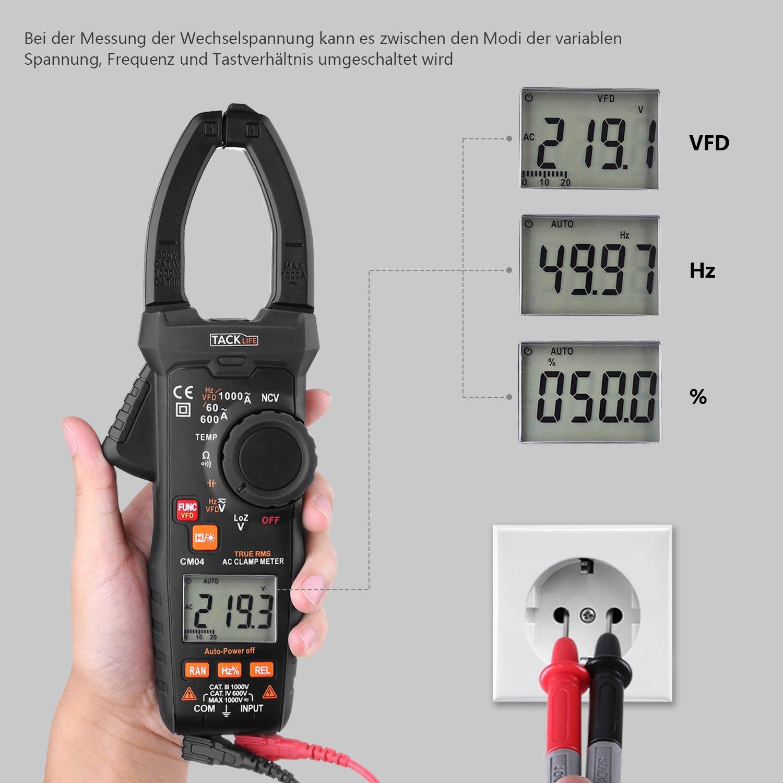 Clamp Meter, tacklife Professional CM04 Pinza amperimétrica ...