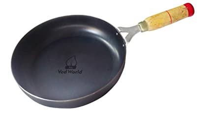Vedworld� Iron Fry PAN Black | Original Loha | Iron | Lokhand with Wooden Handle (9.5 INCHES)