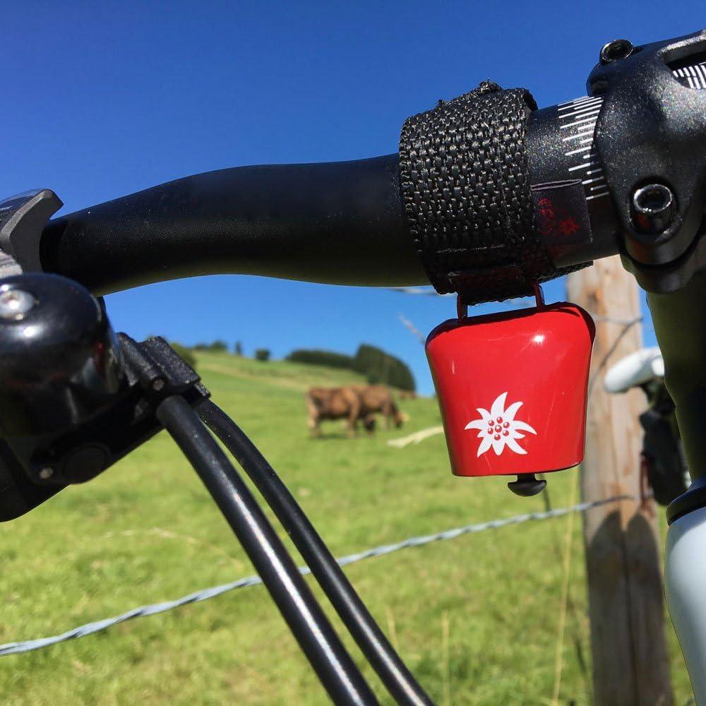 ebos Alpenhupe Timbre con un Alto Sonido para Cada Manillar Cencerro como Timbre de Bicicleta Compatible con Todas Las Bicicletas Abrazadera de Bicicleta Resistente a la Intemperie