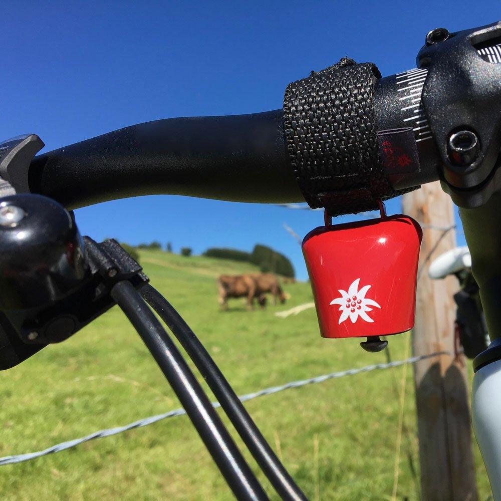 ebos Alpenhupe Kuhglocke als Fahrradklingel ✓ Einh/ändige Bedienung ✓ F/ür alle Fahrr/äder//Lenker geeignet Gro/ße Fahrrad-Glocke Witterungsbest/ändige Fahrradschelle als Accessoire