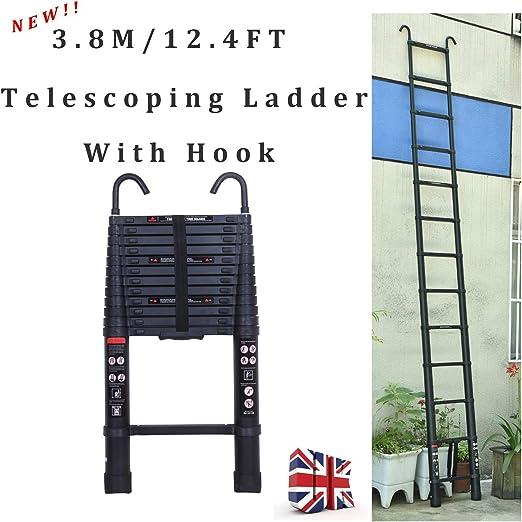 XHCP Escalera telescópica Recta portátil de 13 escalones con Gancho para Techo, Escalera telescópica de 3,8 m Extensible con botón de retracción y Correa, Escalera fácil de Extender y retraer: Amazon.es: Hogar