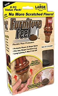 Ferryman Furniture Feet Flexible Floor Protectors 8pc Pack (Large, Fits Legs  1 3/