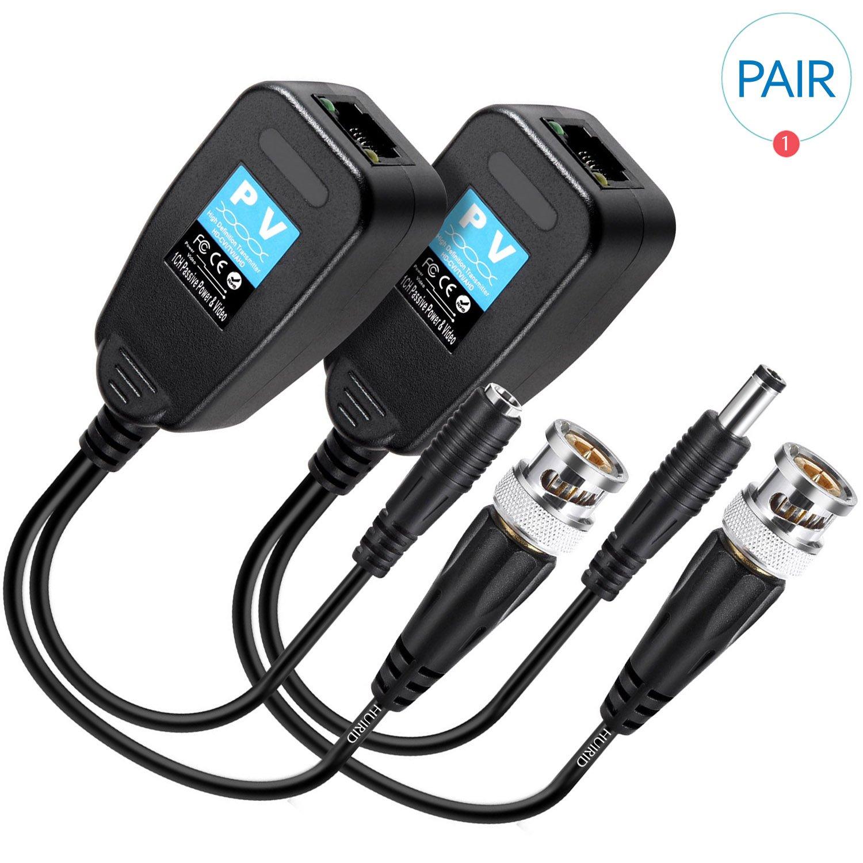 huirid 1 par (2pcs) HD-CVI/TVI/AHD pasiva Video Balun transmisor con conector de alimentación y datos RJ45 CAT5 transceptor: Amazon.es: Electrónica