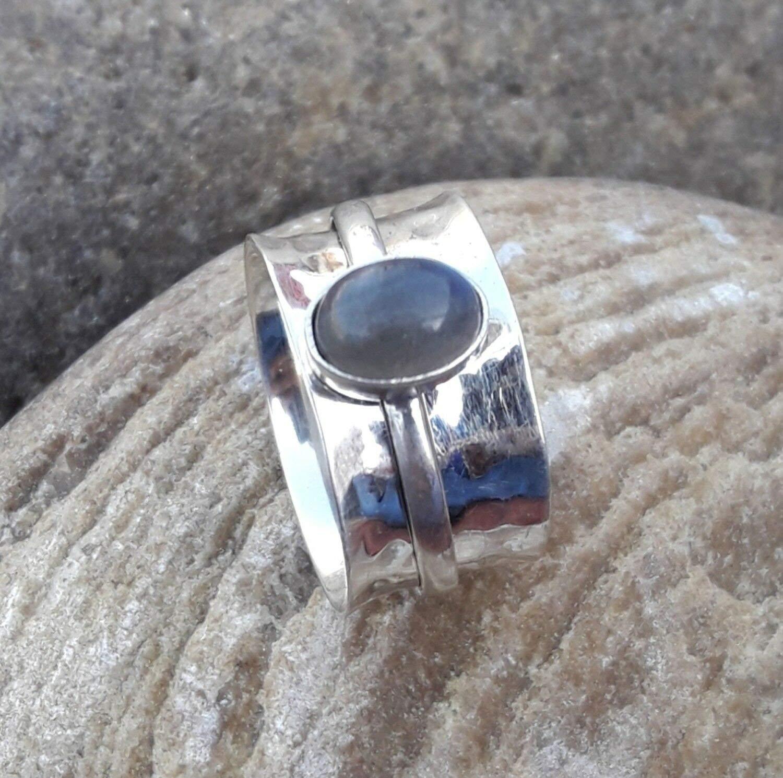 Bague en Labradorite naturelle, bague en argent Sterling 925, anneau de cadeau d'anniversaire pour femme