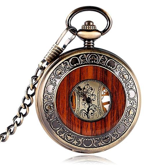 Vintage de madera caso mecánica mano viento hueco Out reloj de bolsillo números romanos Classic Engravable