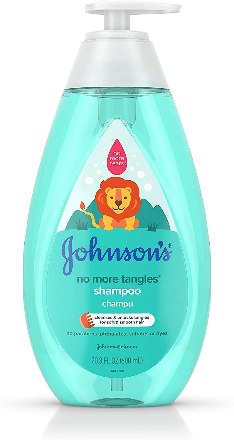 Johnson's No More Tangles Detangling Shampoo for Toddlers and Kids, Gentle No More Tears Formula, Hypoallergenic and Free of Parabens, Phthalates, Sulfates and Dyes, 20.3 fl. oz