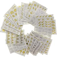 Niome 30pcs Gold Silver Nail Water Stickers Feather Flower Dream Design Decals Nails Decoration Nail Art Manicure