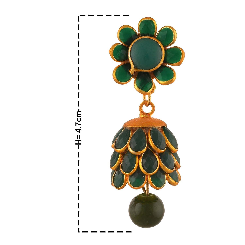 Zephyrr Fashion Golden Pierced Jhumki Earrings with Rhinestones for Girls