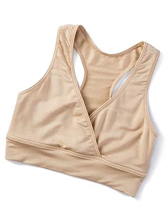 eefc62f7a4801 Gratlin Women s Plus Size Soft Wrap Wire Free Maternity Nursing Sleep Bra  Beige S - (