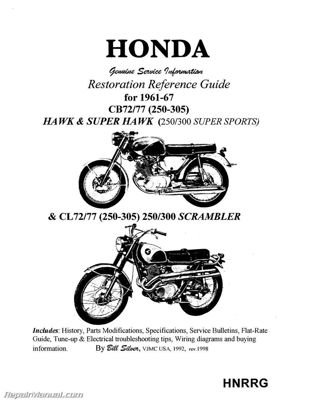 hnrrg honda superhawk & scrambler motorcycle restoration reference guide -  printed paperback – 2004