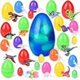 10'' Jumbo Easter Eggs with Dinosaur Toys, 25 PCs Prefilled Easter Eggs Different Size, Easter Basket Stuffers for Toddlers, Building Blocks, Easter Eggs Fillers for Party Favors, Party Supplies, Goodie Bags and Kids Prizes