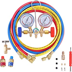 YSTOOL 3 Way AC Manifold Diagnostic Gauge Refrigerant Charging Set for Air Conditioner HVAC R134a R404a R22 R12 Freon with 5FT Hose R134a Quick Couplers Can Tap Acme Adapter Valve Core Tool Kit