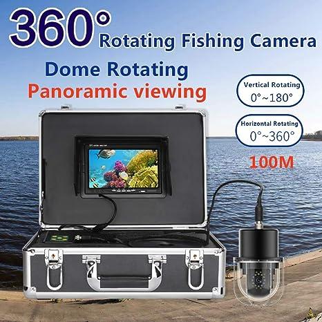 Cámara de pesca subacuática Buscador de peces Buscador de peces portátil IP68 Monitor subacuático impermeable 20 LED Rotación de 360 grados Rotación de domo Cámara panorámica Pantalla HD de 7 pulgadas: Amazon.es: