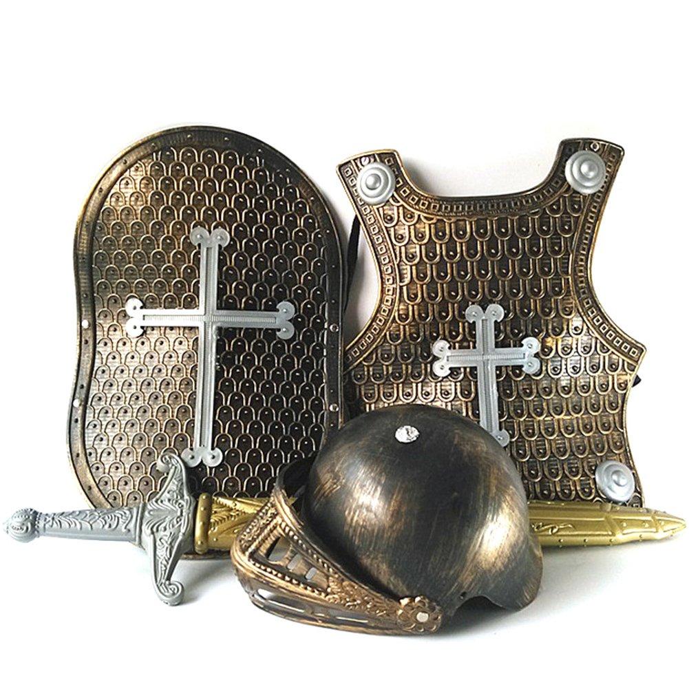 Per 4 pièces Armure Chevalier for 3-8 ans Enfant - Déguisement chevalier en armure garçon, Casque Bouclier Cuirasse Équipement de Cavalier Moyen-âge Guerrier Armure de combat Soldat Accessoires (Dragon Croix)
