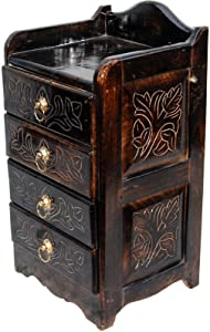 """Unique Handicraft Wooden Hand Carved Cabinet with Beautifully Design. (31.2"""" L x 28"""" W x 58"""" cm)"""