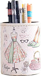 Pen Pencil Holder, Floral Flower Pattern Pen Cup Container PU Leather Desk Organizer Stand Decor Brush Scissor Holder Desk Organizer Decoration for Office Desk Home Decorative (3.1X4.1in(PG-3))