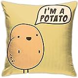 "Square Pillow Cases, I'm A Potato Short Plush Cushion Cover, Soft Decorative Pillow Covers for Sofa Bedroom Car 18""x18"""