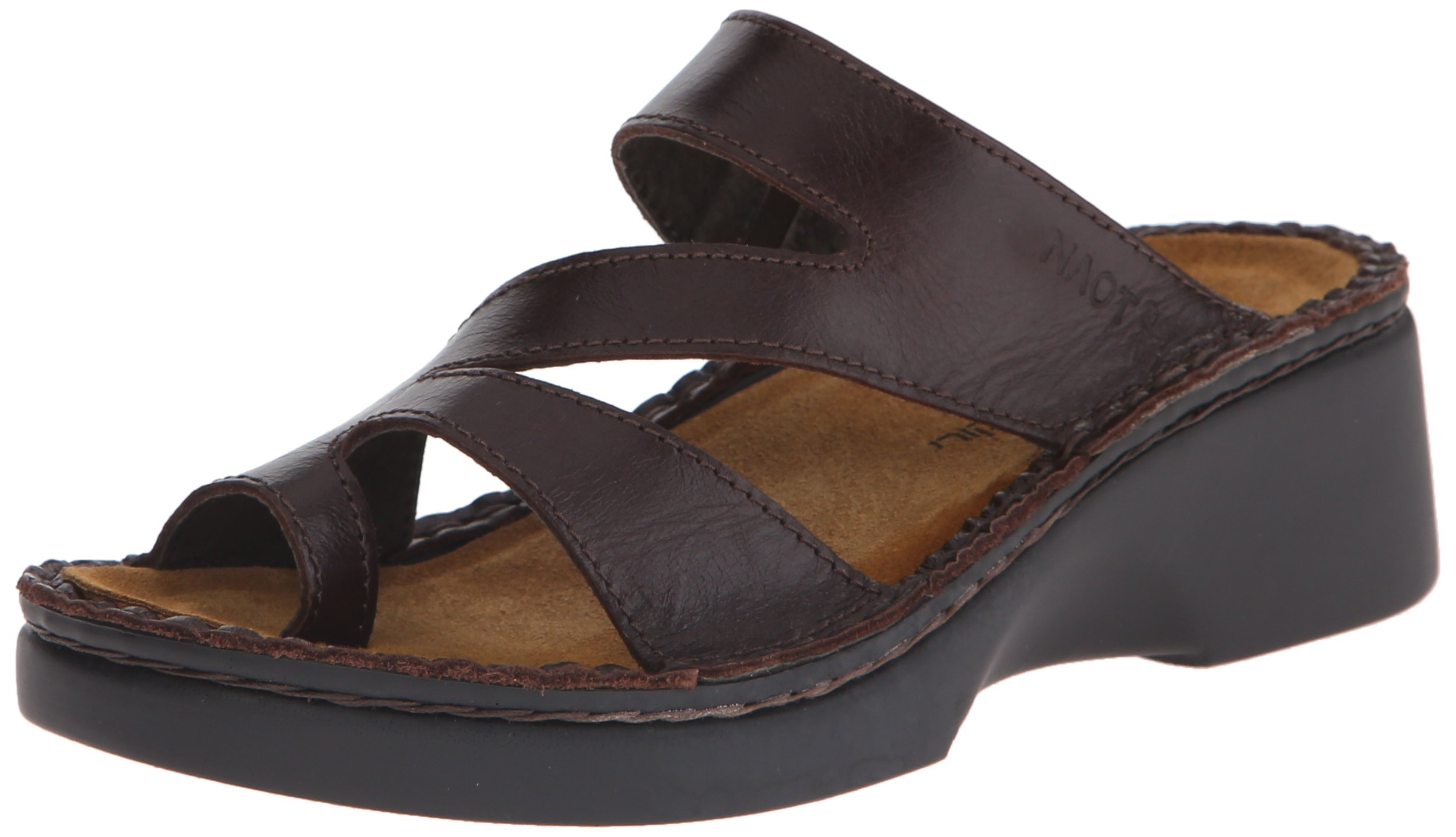 Naot Women's Monterey Wedge Sandal, Walnut Leather, 35 EU/4.5-5 M US