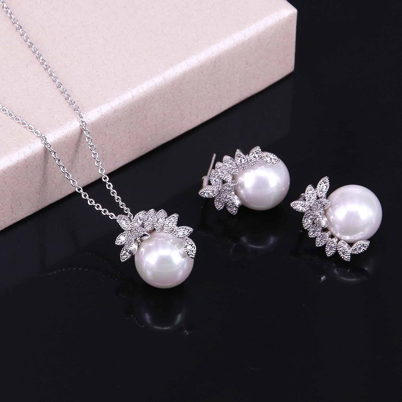 BiBeary Femme elegant Zirconia perle simul/ée Leaf Fleur Simple Boucles doreilles Collier Parure