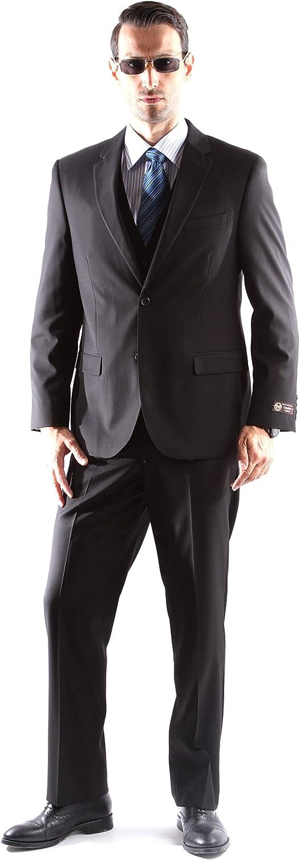 Men's 2 Button Superior 150s Extra Fine 3 pcs Vested Dress Suits