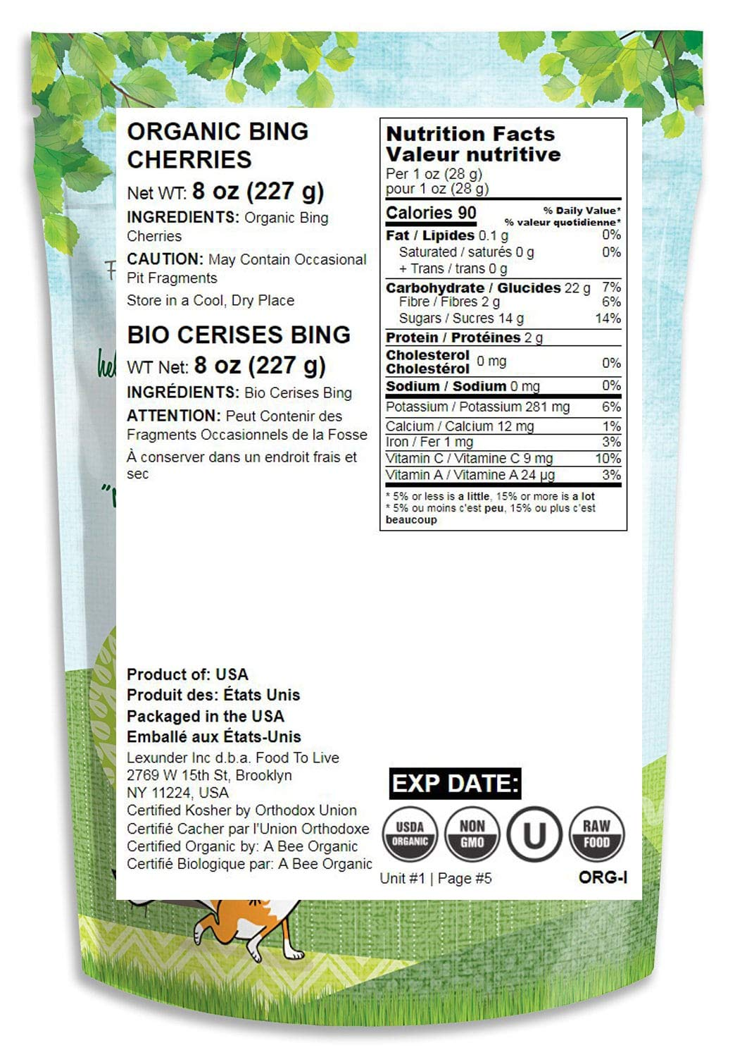 Organic Bing Cherries, 8 Ounces - California Sun-Dried Sour Cherries, Non-GMO, Kosher, Putted, Tart, Unsweetened, Unsulfured, Non-Infused, Non-Oil Added, Non-Irradiated, Vegan, Raw, Bulk by Food to Live (Image #1)