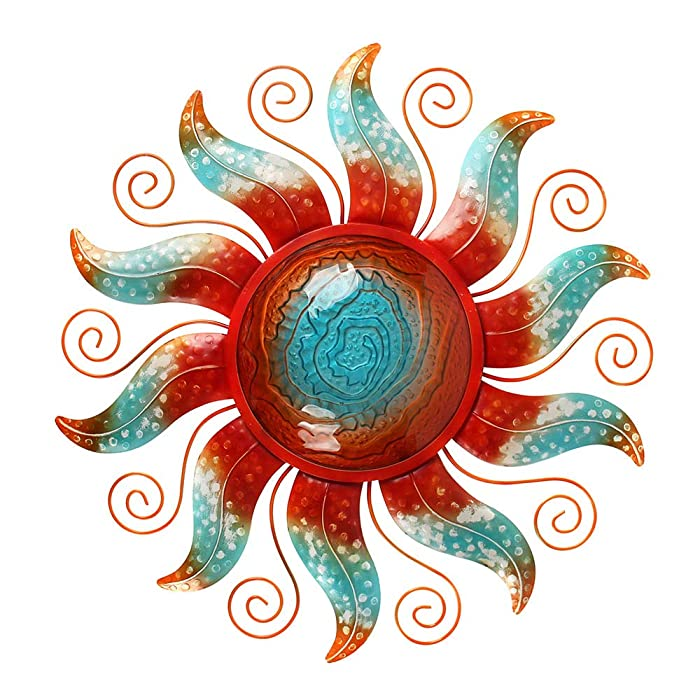 Liffy Metal Sun Wall Decor Outdoor Glass Sculpture Art Colorful Decorations for Living Room Bedroom