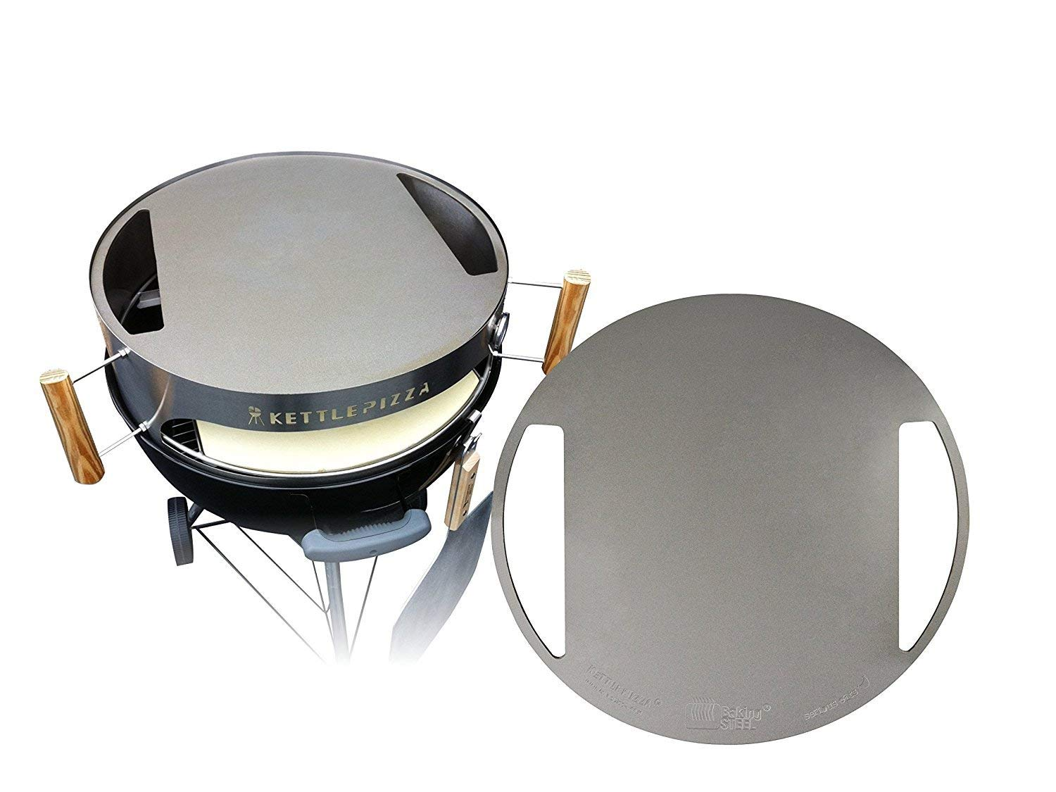 Made in USA KettlePizza Stainless Baking Steel - Steel Skillet/Lid for 22.5'' Kettle Grills