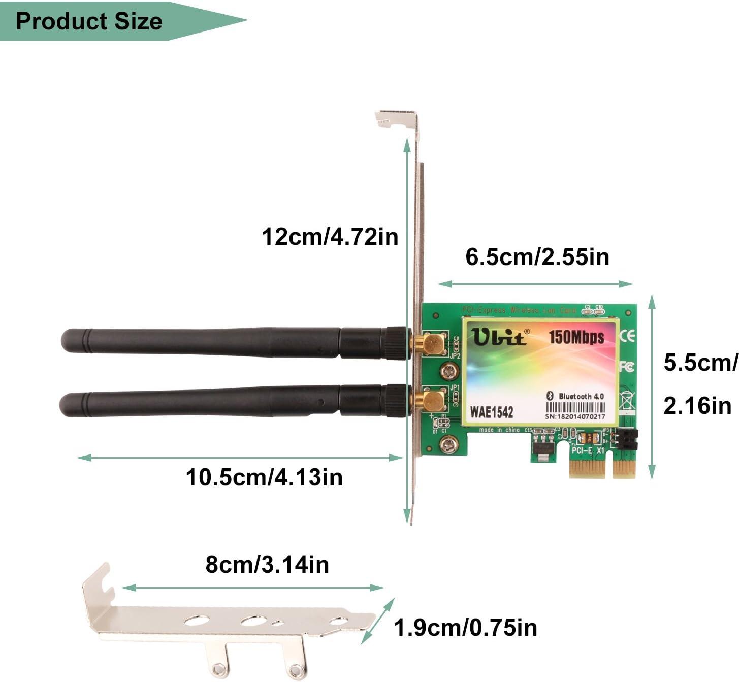Ubit Wireless PCIe-Netzwerkkarte PCI-E Express mit AP-Launung Netzwerk-Server-Netzwerkadapterkarte f/ür Gaming//Desktop PC 802.11N, 450 Mbit//s, Dual-Band, 2,4 GHz//5 GHz WIE5300 WiFi-Karte
