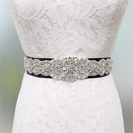 Zda Elegante Vestido de Boda de Cristal Perla cinturón Novia Rhinestone  Sash Applique 8 Opciones 4afd6c595f48