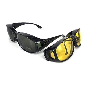 Gafas de sol superpuestas | Más gafas de sol - Más de gafas de sol - gafas de conducción y gafas de visión nocturna | Conjunto de 2 piezas | Para ...