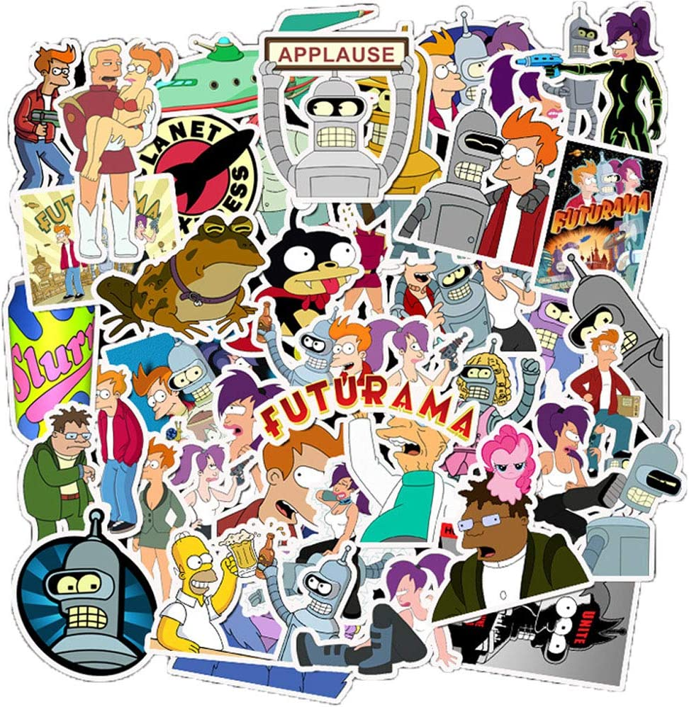 50 Pcs Cute Anime Waterproof Vinyl Stickers of Futurama for Kids Toddlers Teens Boys Girls, Cartoon Aesthetic Stickers Pack for Hydroflasks Computer Bicyle Car Laptop Mcbook Water Bottle Bike Phone.