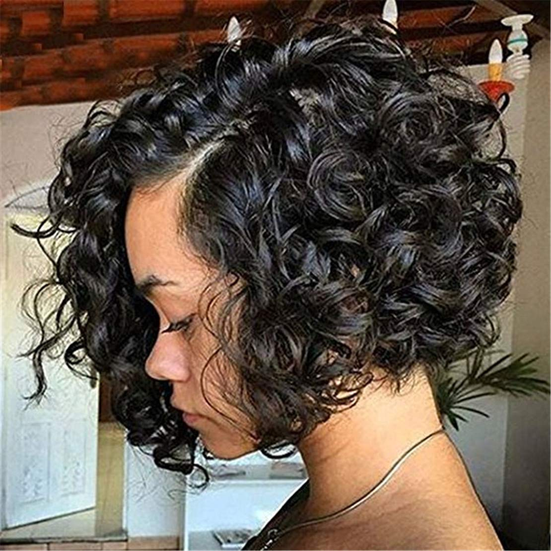 Cool2day Short Curly Wave Synthetic Hair Anime Deep Wave Heat Resistant Full Wigs For Black Women