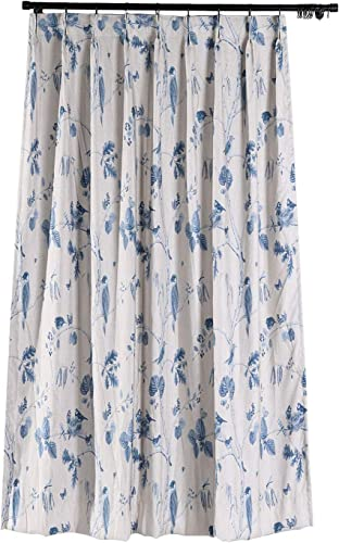 ChadMade Rural Pastoral Print Extra Wide Window Curtain 120 W x 84 L, Pinch Pleated Blackout Lining Darpes Panel Bedroom Living Room Hotel Restaurant 1 Panel , Ancient Blue