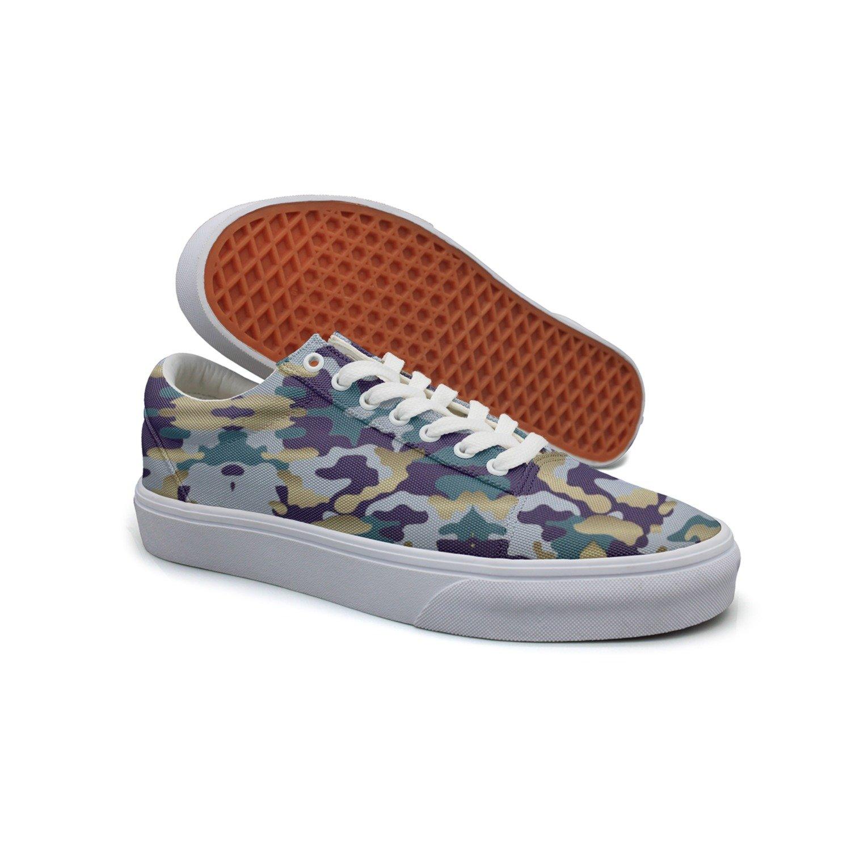 Ouxioaz Womens Skateboarding Shoes Canvas Navy Blue Gold Camoflage Camo Sport Sneaker