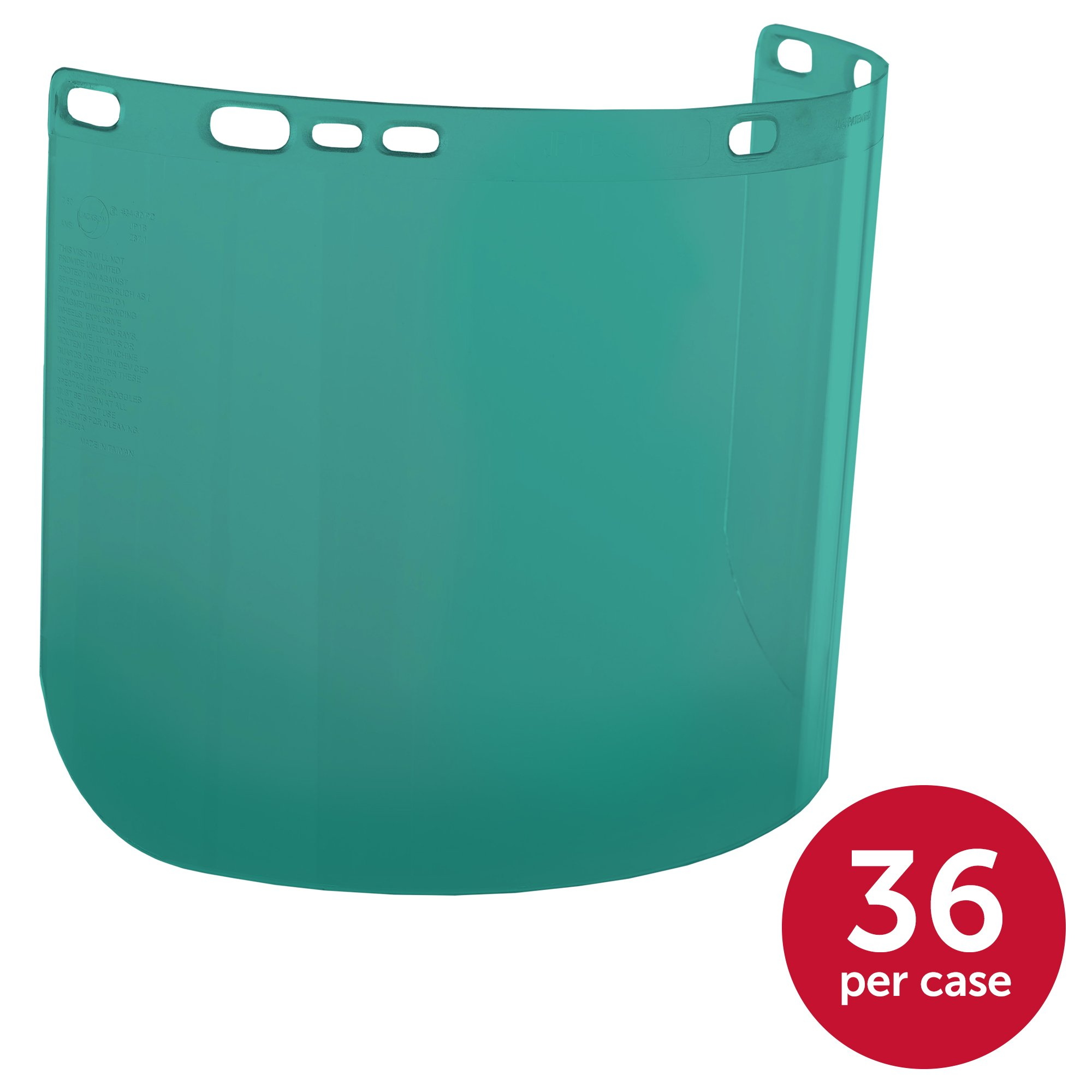 "Jackson Safety F20 High Impact Face Shield (29100), Polycarbonate, 8"" x 15.5"" x 0.04"", Dark Green, Face Protection, Unbound, 36 Shields / Case by Jackson Safety (Image #1)"