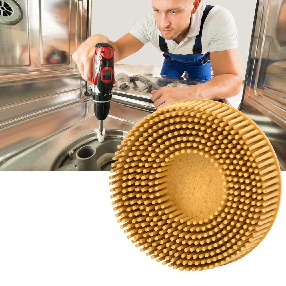 Brush Disc 3 Inch Rubber Abrasive Brush Polishing Grinding Wheel for Burr Rust Removal Yellow